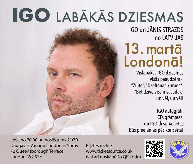 Jānis Strazds un Igo martā koncertēs Lielbritānijā